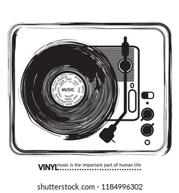 Musical poster for your design. Music elements design for card, invitation, flyer. Music background vector illustration. Vinyl record. Turntable.