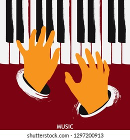 Musical poster for your design. Music elements design for card, invitation, flyer. Music background vector illustration. Music piano keyboard with hands.