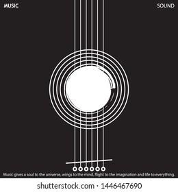 Musical poster for your design. Music elements design for card, invitation, flyer. Music background vector illustration. Guitar elements.