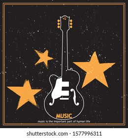 Musical poster for your design. Music elements design for card, invitation, flyer. Music background vector illustration. Vintage poster with guitar.
