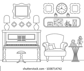 A musical room with a piano. Vector interior with furniture in a linear style. Design of a rest room.