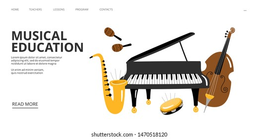 Musical school landing page. Vector musical education web banner template. Piano saxophone cello illustration. Saxophone and piano, music instrument