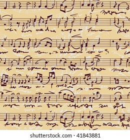 Musical score(seamless,vector) The old musical musical score written manually