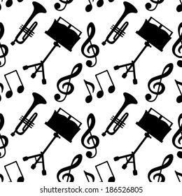 Musical seamless pattern with music notes, treble clef, trumpet, music stand in black and white - vector