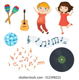 Musical set. Funny cartoon children, notes and musical instruments.