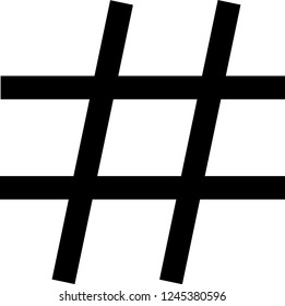 Musical sharp note symbol vector illustration in black and white