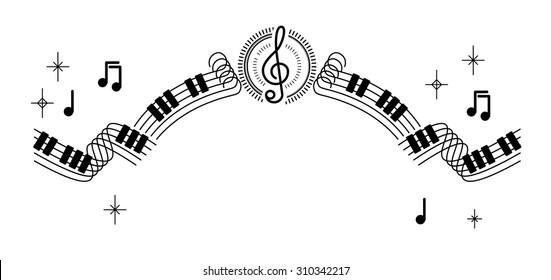 musical sheet note ribbon line decoration illustration vector
