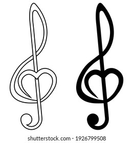 Musical sign treble clef with heart, vector sign of love for music, symbol of music fan audiophile