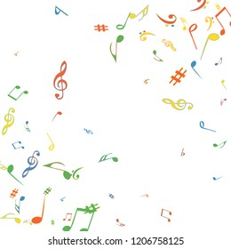 Musical Signs. Modern Background with Notes. Vector Element for Musical Poster, Banner, Advertising, Card. Minimalistic Simple Background.