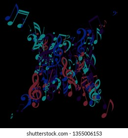 Musical Signs. Trendy Background with Notes, Bass and Treble Clefs. Vector Element for Musical Poster, Banner, Advertising, Card. Minimalistic Simple Background.