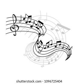 Musical staff or music stave notes and clef for musical concept design. Vector poster or icon of musical notes on staff for jazz night or classical opera concert and orchestra players performance