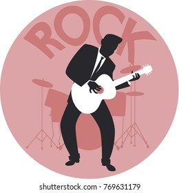 Musical style. Rock. Silhouette of guitar player and drums in the background