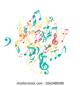 Musical Symbols. Modern Background with Notes, Bass and Treble Clefs. Vector Element for Musical Poster, Banner, Advertising, Card. Minimalistic Simple Background.