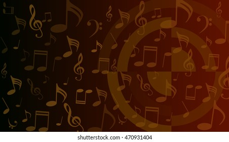 musical symbols, music notes, treble clef, a red and black background vector