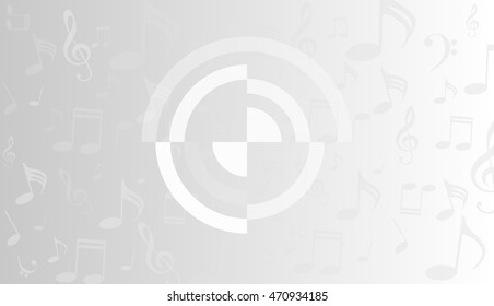 musical symbols, music notes, treble clef, a grey and white background vector