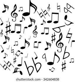 musical symbols, musical notes, treble clef, vector