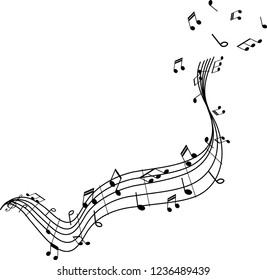 Musical takeoff of musical notes