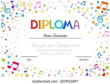 Musical template - Horizontal musical diploma. Colorful Frame with star and notes. Diploma template for kindergarten students, Certificate of kids diploma. Vector Illustration
