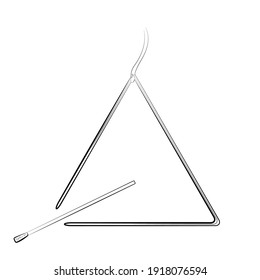 musical triangle hand draw icon isolated on white background. Vector
