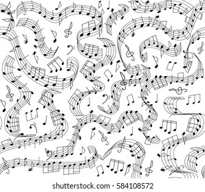 Musical vector seamless pattern with handwritten notes