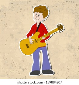 Musical vintage background, boy with guitar.