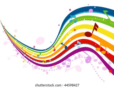 Musical Wave in Rainbow Colors - Vector