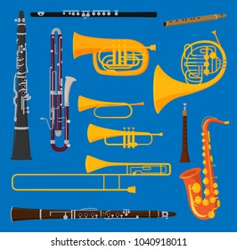 Musical wind air tube brass instruments vector isolated on background blow blare studio acoustic shiny musician brass equipment tube orchestra trumpet sound metal woodwind tool