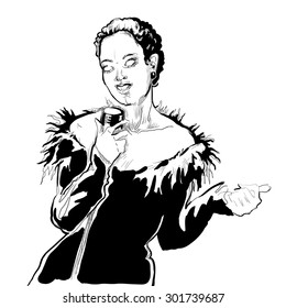 Musicans of jazz. Vector sketches. Woman with microphone. Singer. Black and white vector sketch. Easy editable in several layers. Lineart sketch.