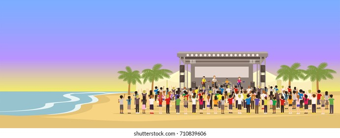 Musician Band live performing on Outdoor Beachfront Summer Concert Festival with Crowd of Audience. Sunset Sky background Cartoon Vector