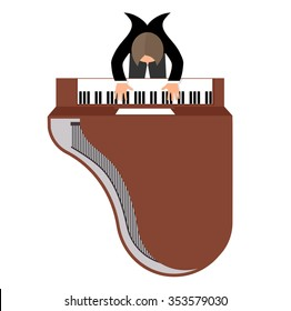 musician behind a grand piano top view a  flat style