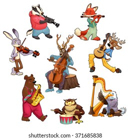 Musician cartoon animals. Vector isolated characters.