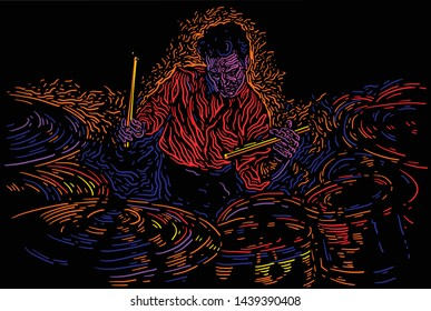 Musician with drums. Jazz drummer  player abstract vector illustration with large strokes of paint. Music poster