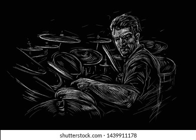 Musician with drums. Rock drummer  player abstract black and white vector illustration sketch style. Music poster