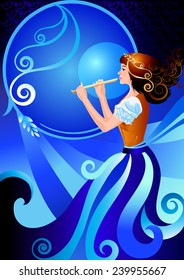 Musician flutist. Girl playing the flute, fife. The character enchantress, fairy. Vector illustration of fairy postcards, posters, cards, greeting card, fantastic cover. Blue and orange colors