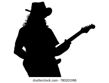 Musician with guirar in blues style on white background