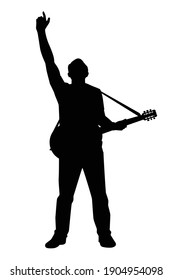 Musician with guitar in concert silhouette vector on white background