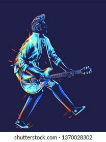 Musician with a guitar. Guitarist with duckwalk style. Rockabilly pompadour hair guitar player abstract vector illustration with colorful strokes of paint.