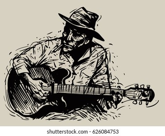 A musician with a guitar hat and cigarette. vector illustration