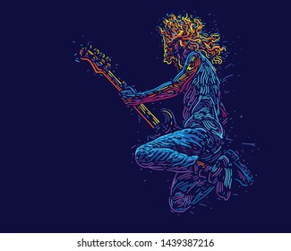 Musician with a guitar. Jumping rock guitarist guitar player abstract vector illustration with large strokes of paint