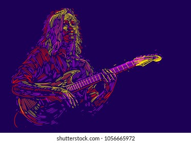 Musician with a guitar. Rock guitarist guitar player abstract vector illustration with  strokes of paint. Music poster