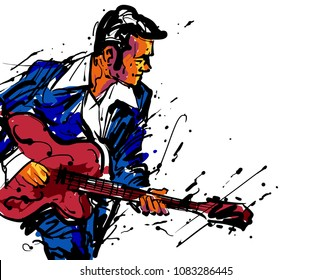 Musician with a guitar. Rock n Roll guitarist guitar player, rockabilly party poster. Abstract vector illustration with large strokes of paint EPS 10 format