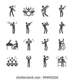 Musician icon set. Included the icons as sing, song, guitar, flute, piano, percussion and more.