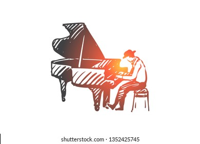 Musician, jazz, piano, performance, music concept. Hand drawn jazz musician playing on piano concept sketch. Isolated vector illustration.