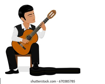 The musician is playing classical guitar
