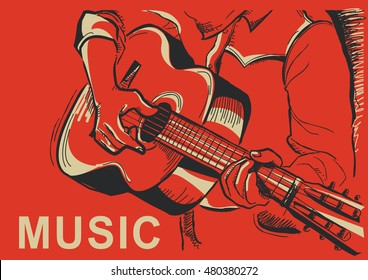 musician playing guitar. Vector music poster background
