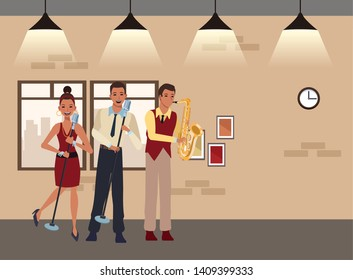 musician playing saxophone and singing avatar cartoon character indoor rehearsal room vector illustration graphic design