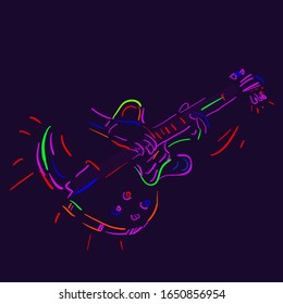 Musician plays the guitar on a dark background. Vector illustration