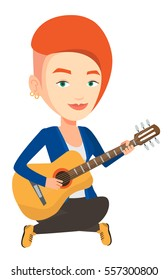 Musician sitting with guitar in hands. Caucasian musician playing an acoustic guitar. Young female guitarist practicing in playing guitar. Vector flat design illustration isolated on white background.
