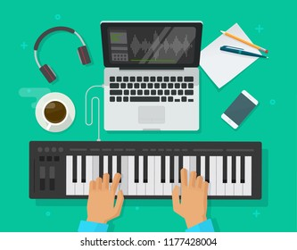 Musician workspace studio vector illustration, flat cartoon person playing midi piano keyboard and compose electronic music on computer laptop with and sequencer software, musician writing song editor