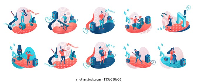 Musicians 3d isometric set with trendy geometric patterns, music band artists, jazz fesival background, singer, guitar, piano, cartoon collection of musical people, blue and coral color
